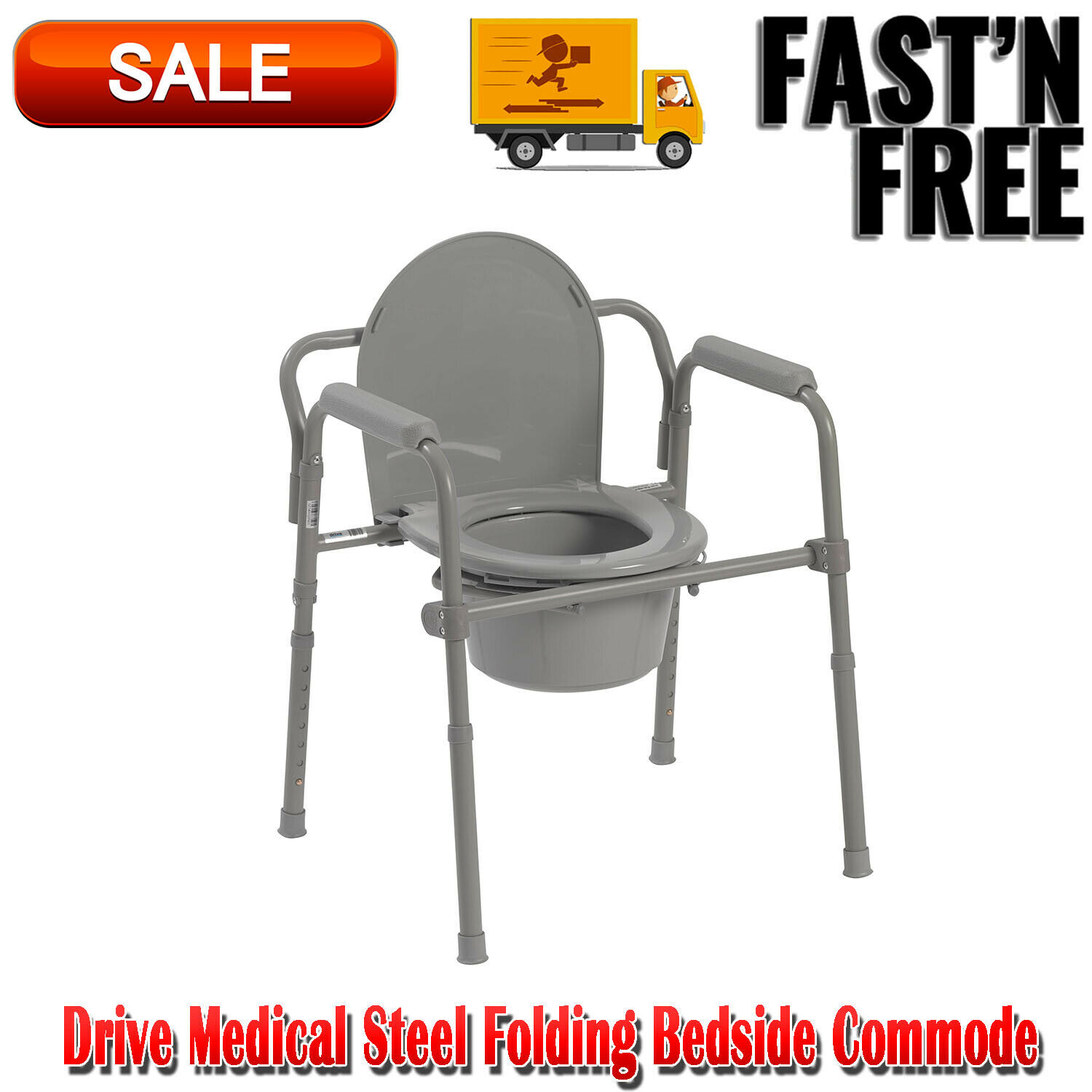 Toilet Seat Potty Chair Folding Commode Chamber Bedside Port