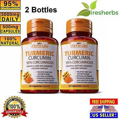 2 #1 Best Angry Supplement Turmeric Curcumin 95% Curcuminoid 120 Vegetarian