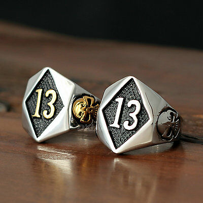Men Women Lucky Number 13 Skull Gothic Biker Stainless Steel Ring Silver - Number Ring