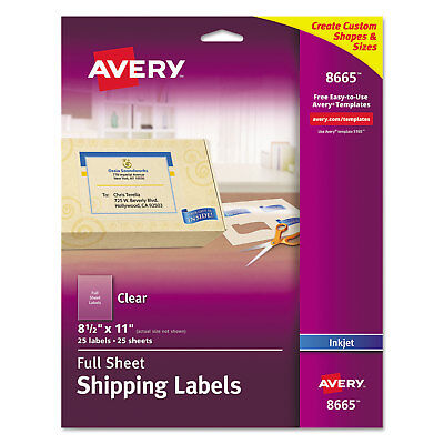 Avery Matte Clear Shipping Labels Inkjet 8 12 X 11 25pack 8665