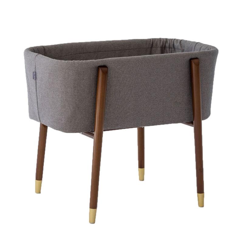 TruBliss Baby Sova Bassinet Deep Wall Crib Sleeper w/ Fitted Sheets, London Grey