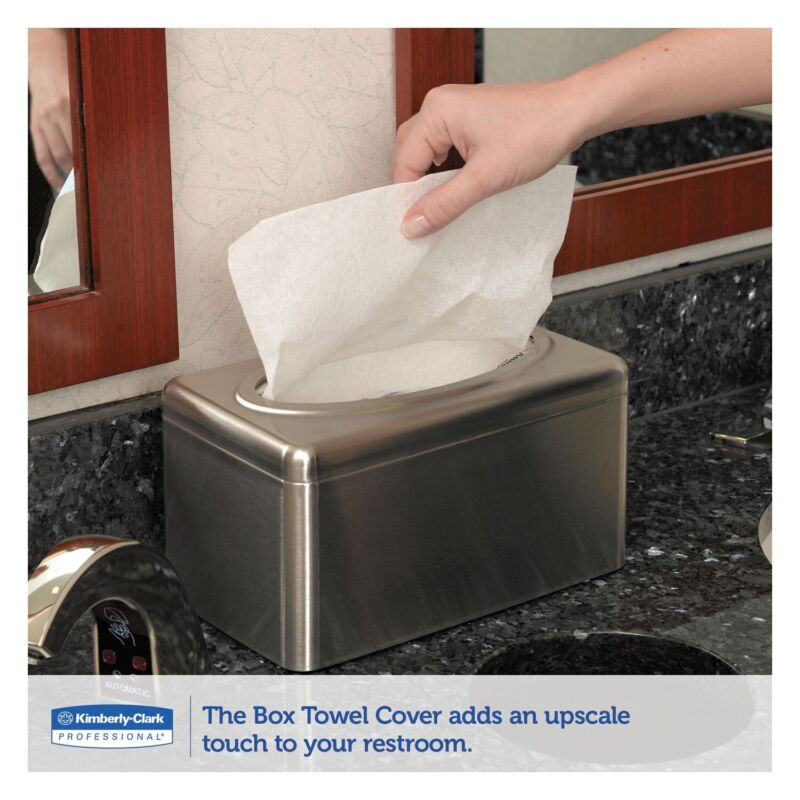 Kimberly Clark Stainless Steel Hand Towel Tissue Cover Kleenex Box (TWO PACK)