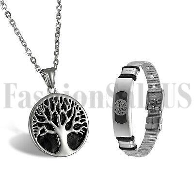 Celtic Pewter Stainless Steel Men's Tree of Life Pendant Necklace Bracelet Set (Celtic Set Jewelry Set)