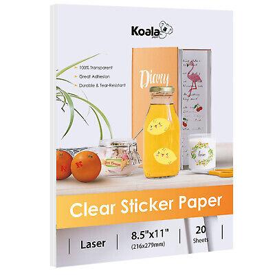 Printable 100% CLEAR Transparent Vinyl Sticker Paper LASER Waterproof 20 Sheets