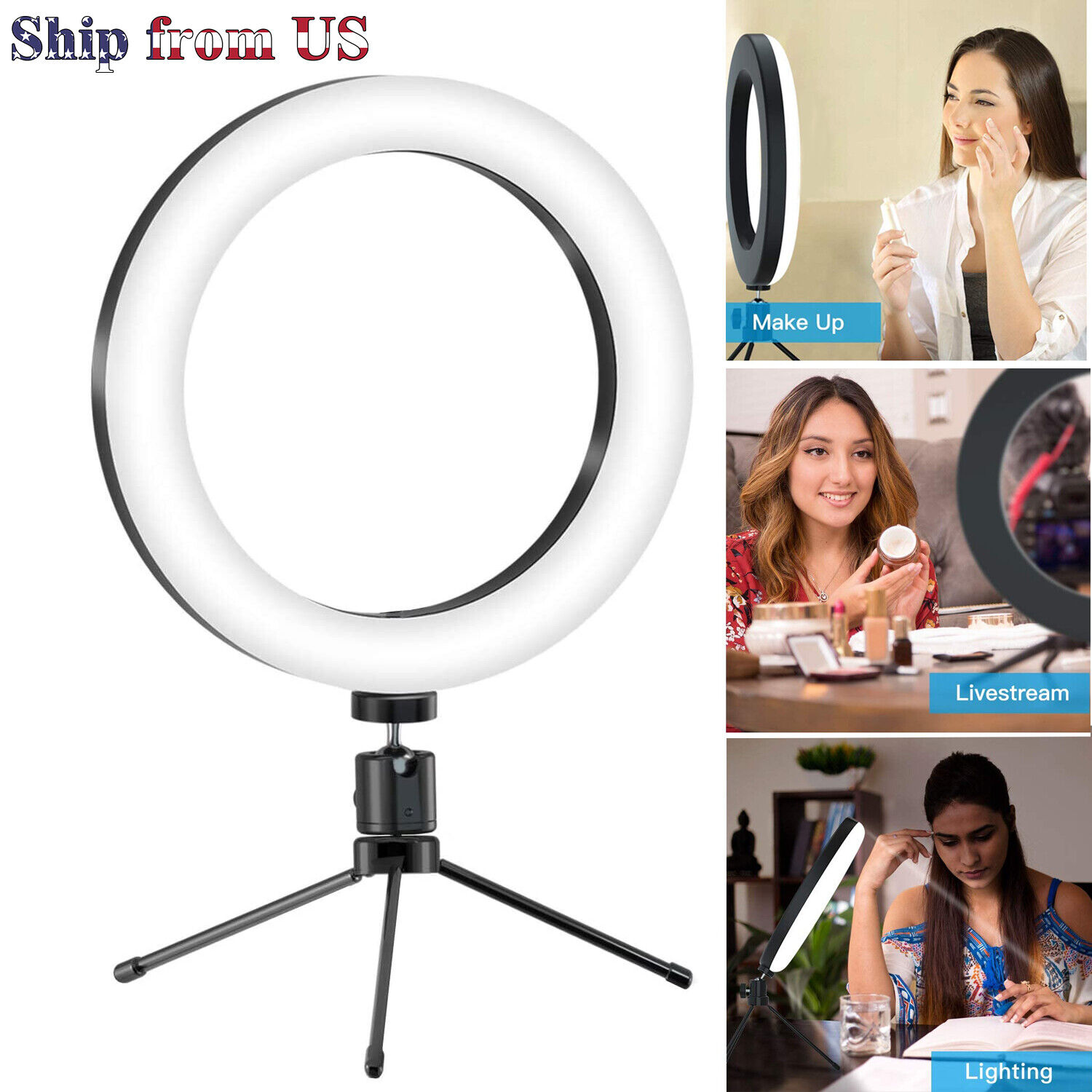 6″ LED Mini Portable Ring Light w/Tripod for Video Live Stream Makeup Selfie USB Cameras & Photo