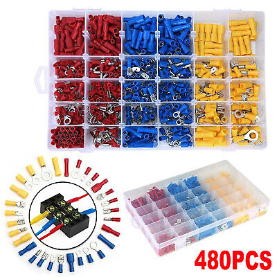 480x Electrical Cable Wire Connectors Assorted Insulated Crimp Terminals Spade U