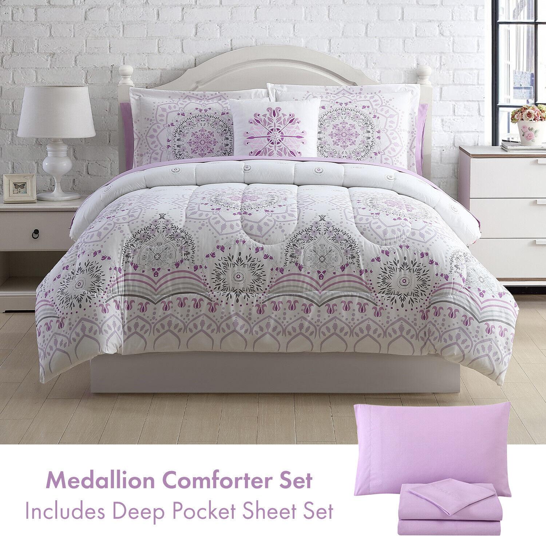 Twin, Full/Queen or King Medallion Comforter & Deep Pocket Sheet Set Purple Grey Bedding
