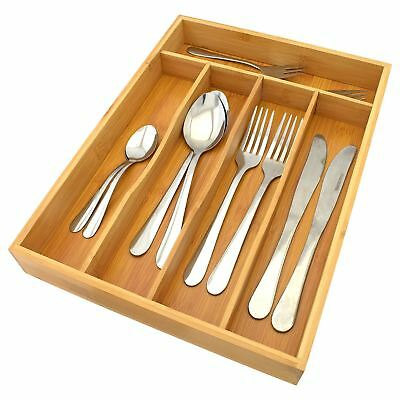 5 Compartment Bamboo Wooden Cutlery Storage Tray Drawer Organiser Holder Kitchen