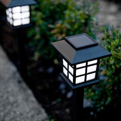 Set of 6 White LED Outdoor Solar Powered Lantern Garden Lawn Landscape