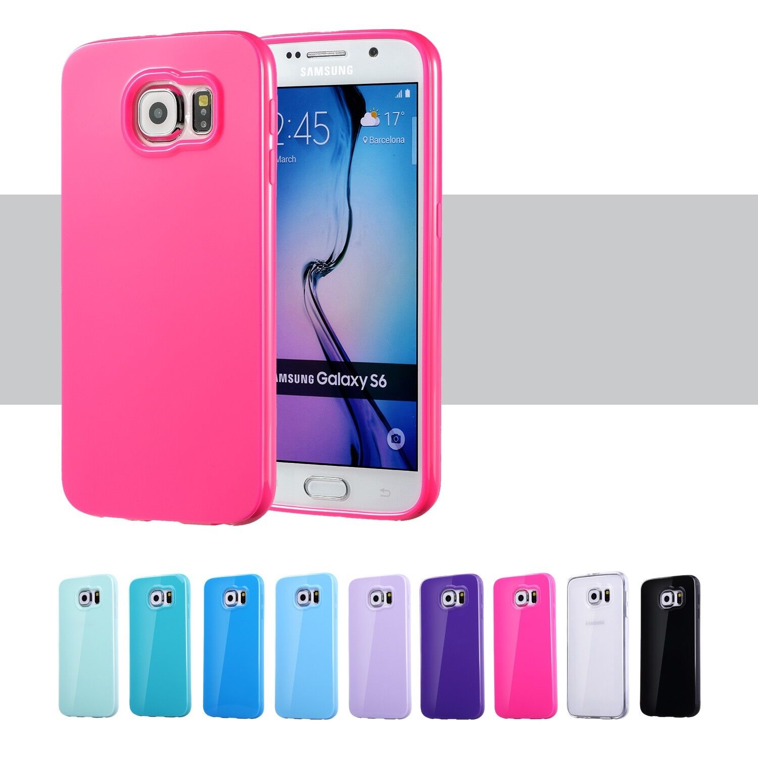 For Samsung Galaxy S6 S7 Edge S8 S9 Plus Case Silicone Rubbe