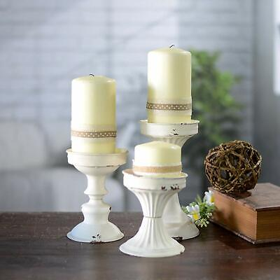 Set of 3 Metal Candle Holder Antique White Distressed Assorted Sized Pillars](Candle Holder Sets)