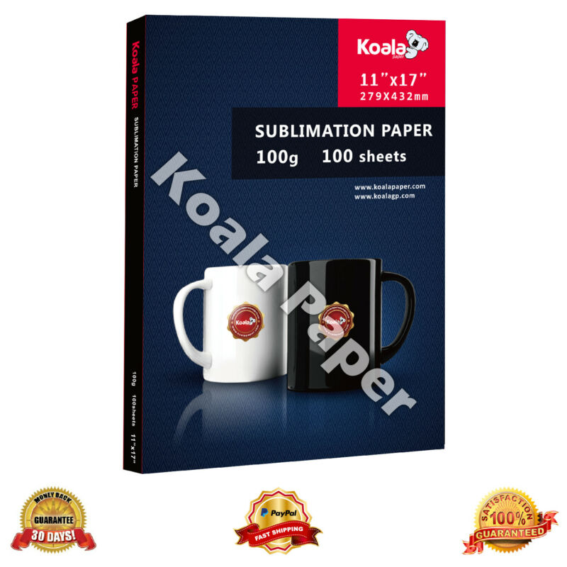 Koala 11x17 Dye Sublimation Heat Transfer Paper 100 Sheets for Mugs Cotton