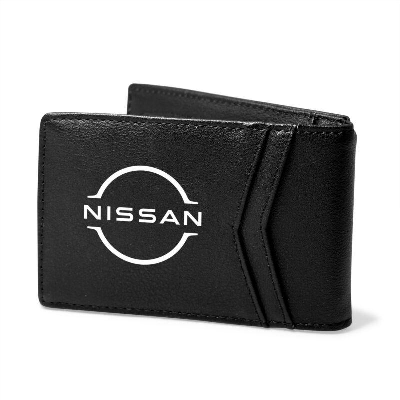 Nissan New Logo Black PU Leather Slim RFID Resistant Bi-fold Men Wallet