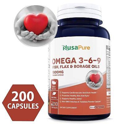 NusaPure Best Omega 3-6-9 1800mg 200 Powder Capsules (Non-GMO & Gluten Free)