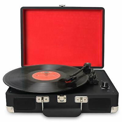 3-Speed Portable USB Turntable Vintage Vinyl Archiver Record Player w Speakers