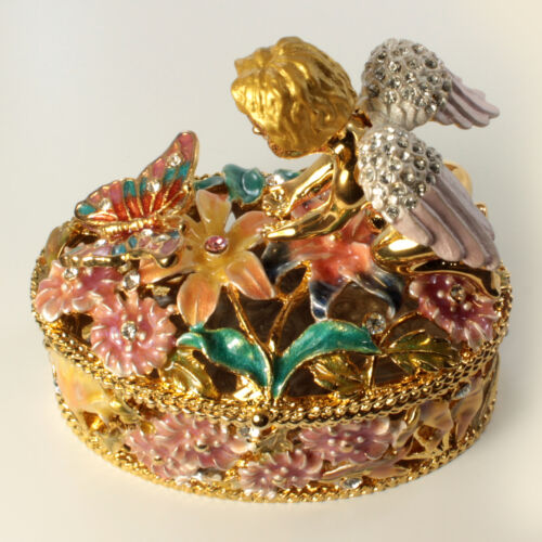 Bejeweled Cherub And Butterfly Trinket Box, Figurine With Crystals Gold / Multi