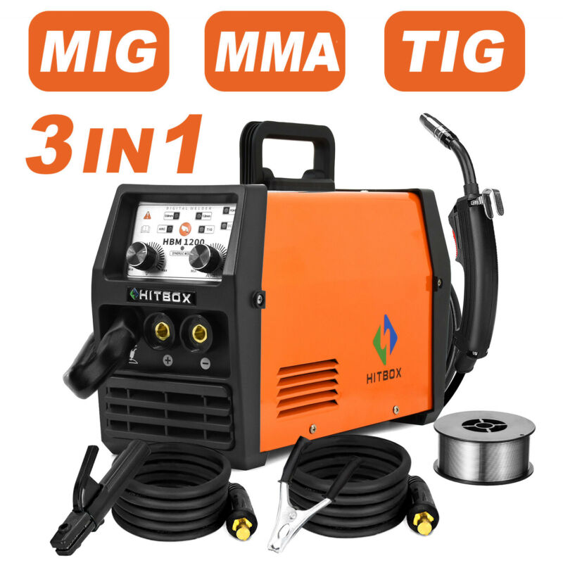 HITBOX 3 in1 MIG Welder 110V 220V Gasless Inverter Lift TIG ARC Welding Machine