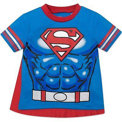 Warner Bros. Superman Toddler Boys' T-shirt with Cape, Blue - Superman Cape Toddler