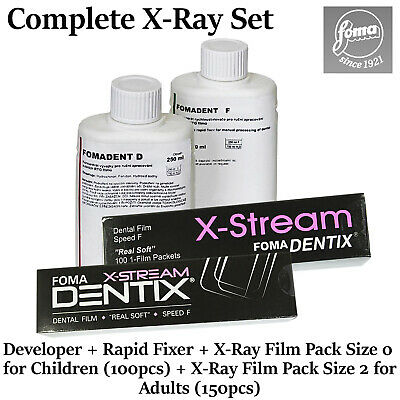Fomadent Developer Rapid Fixer Foma Dentix X-stream Dental X-ray Film Set