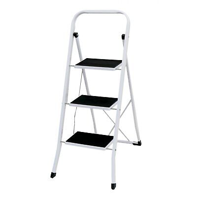NEW! Foldable 3 Step Ladder Stepladder Non Slip Tread Safety Steel