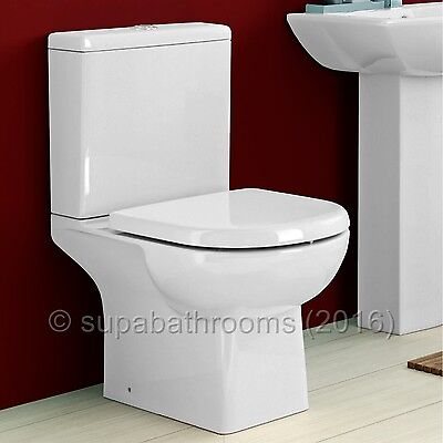 Bathroom Cloakroom Ceramic Close Coupled WC Toilet Pan Asselby, Cistern & Seat