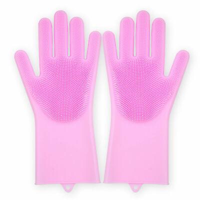 Glove Silicone Scrubbing Magic Rubber Dish Wash Clean Kitchen Reusable Soft 2pcs