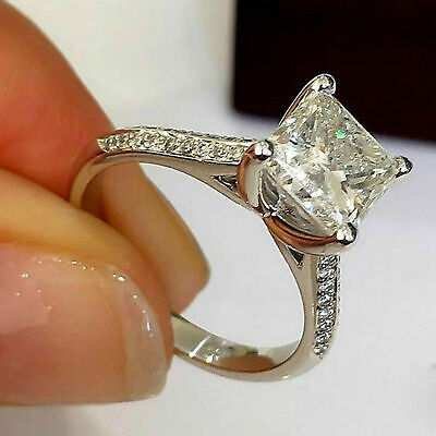 10K White Gold 2.50 CT Lab-created Diamond Wedding Ring For Women's Princess Cut, used for sale  Shipping to South Africa