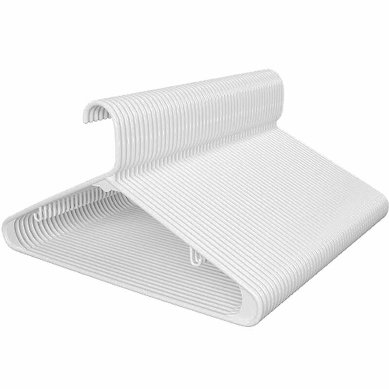 Standard Plastic Shirt Hangers Space Saving 50 Pack white