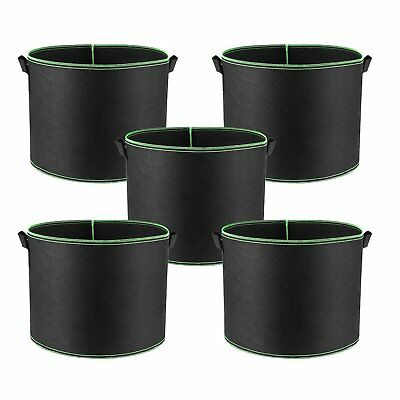 5 Pack Black Green Grow Bags Aeration Fabric Planter Root Growing Pots W Handles