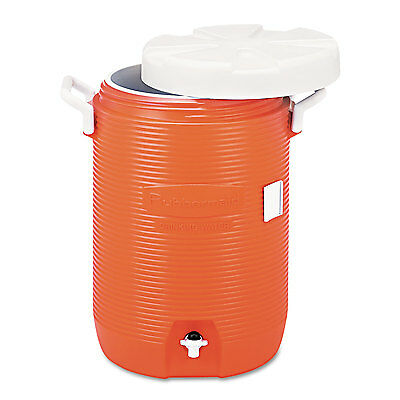 "Rubbermaid Commercial Insulated Water Cooler 5 Gal Orange 10""Dia x 19 1/2""H"