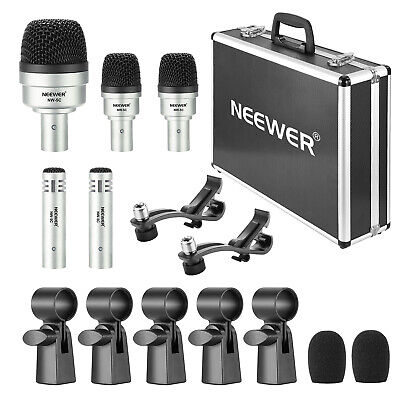Neewer 5 pcs Dynamic Drum Microphone Kit Cymbals Microphone Set for Drums