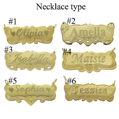 14K Gold Personalized Name Necklace Name Plate  any Name  for Kid Girls - Gold Name Necklace Personalized Jewelry