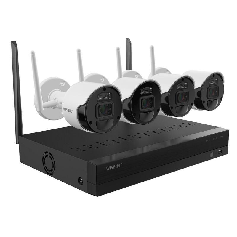 Wisenet SNK-B7307BW 4 Channel 1080p Wi-Fi NVR Surveillance System with 1TB HD, 4