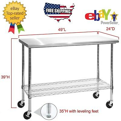 Rolling Stainless Steel Top Work Table Kitchen Table Cart Workbench Shelving 49
