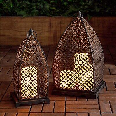 Marokkanische Laternen Set (2er Set Marokkanische Laternen 35/40cm mit LED Kerzen Batterie Außen _Lights4fun)