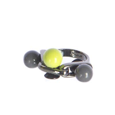 JOOMI LIM Pop Rocks Ring w/ 3 Spheres - Neon Yellow & Grey Sz 4 NEW