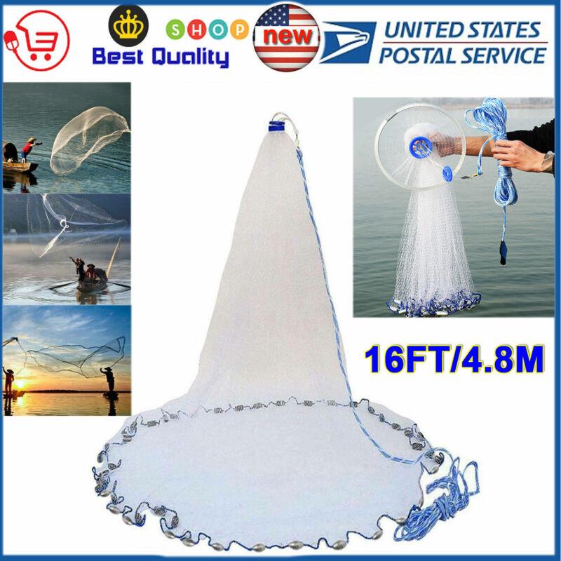 4.8M 16FT Fishing Net Easy Throw Bait Hand Casting Strong Nylon Line with Sinker