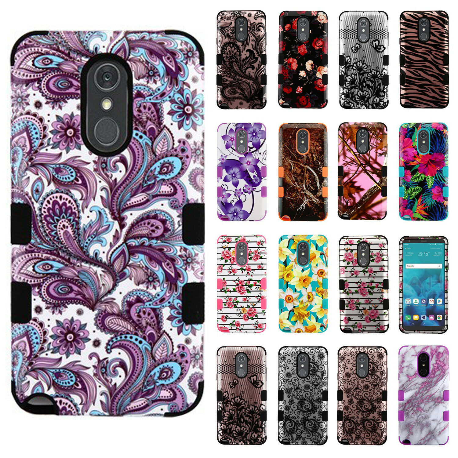 For LG Stylo 4 IMPACT TUFF HYBRID Protector Hard Case Skin Phone Cover Accessory
