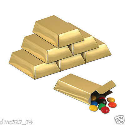 12 Mini GOLD BAR Favor Boxes Casino Pirate or Great for Mine Craft Themed Party