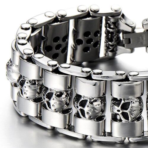 MENDINO Heavy Men's Stainless Steel Bracelet Skull Cuff Polished Biker Silver