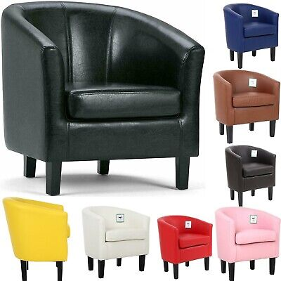 Modern Tub Chair Faux Leather Fabric Armchair Occasional Accent Chairs Sofa Seat