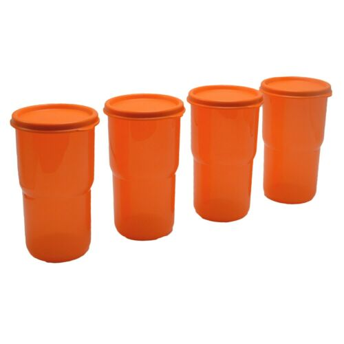Tupperware 12 oz Tumblers with Lid Seals Orange Stacking Tabletop Cups Set of 4