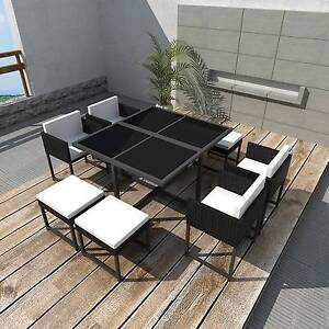 New Items-21 Piece Outdoor Dining Set Black Poly Rattan (41931) Mount Kuring-gai Hornsby Area Preview