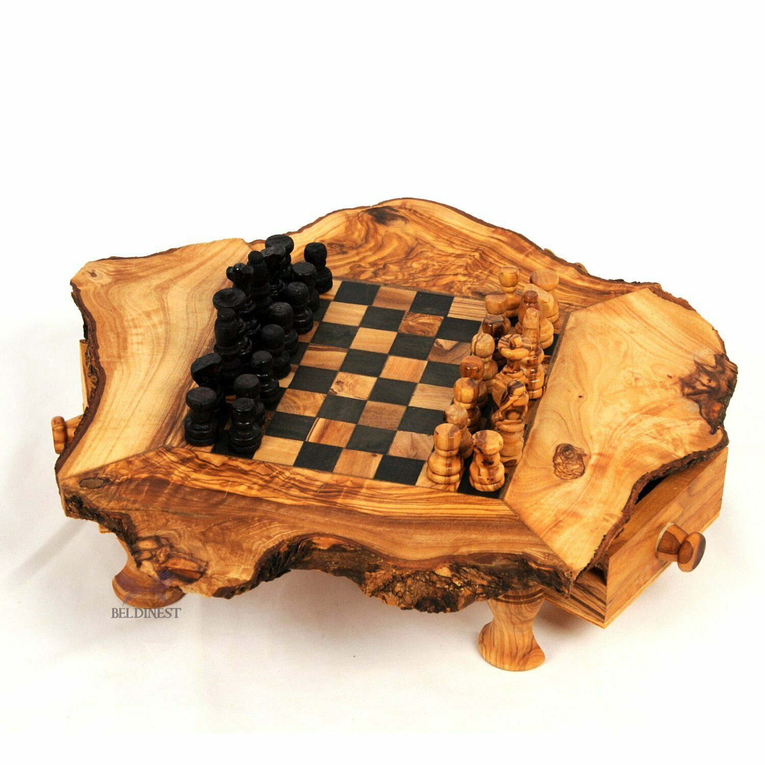Handmade Rustic Olive Wood Small Chess Board S6x6 Chess Game