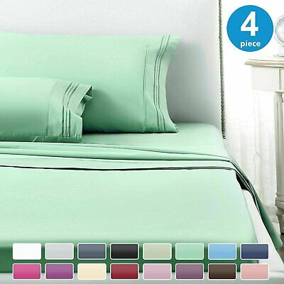 1800 Count 4 Piece Deep Pocket Bed Sheet Set Double Queen King -