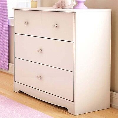 كومودينو جديد White Storage Chest 3 Drawers Dresser Clothes Gilrs Cabinet Bedroom Furniture