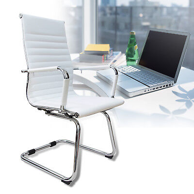 White High Back Office Chair Pu Leather Sled Base Ribbed Computer Desk Seat Home