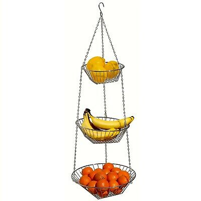 """3 Chrome Plated Wire - 3-Tier 12"""" Round Chrome Plated Steel Wire Hanging Fruit Basket With Hanger Hook"""
