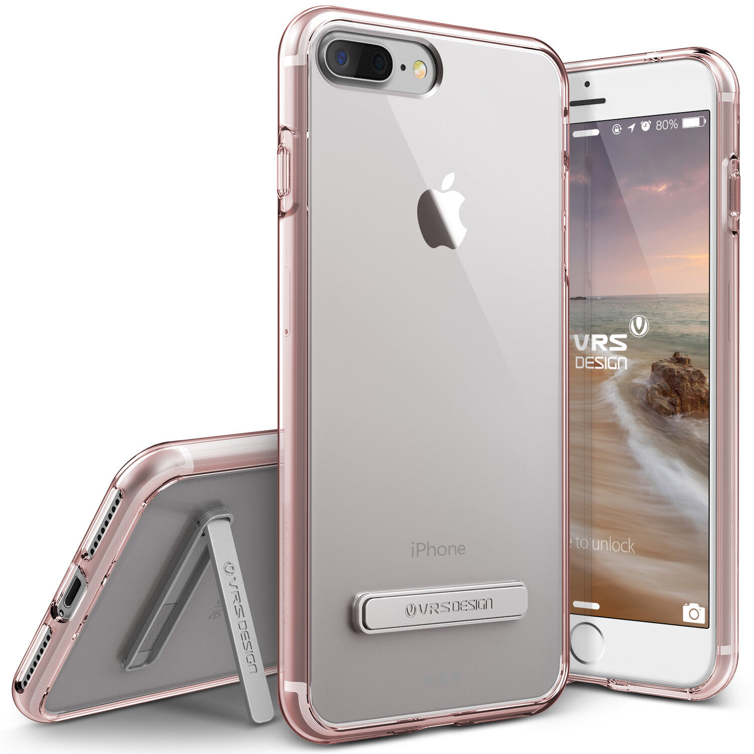 For iPhone 8/8 Plus, 7/7 Plus Case VRS®[Crystal Mixx] Slim Clear Kickstand Cover