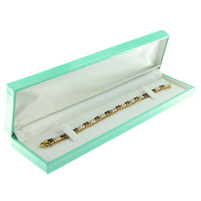 Teal Blue Faux Leather Bracelet Box Display Jewelry Gift Box Silver Trim